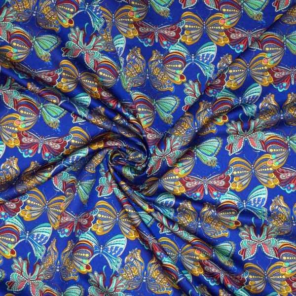 Raso lana seta blu