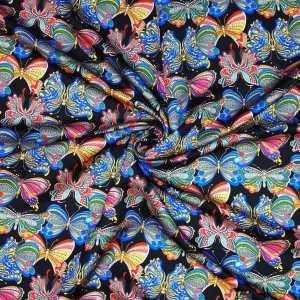 Raso lana seta imprimè – farfalle multicolor su fondo nero