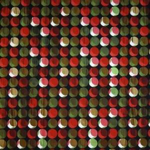 Cotone stretch – cerchi toni rosso, verde e marrone