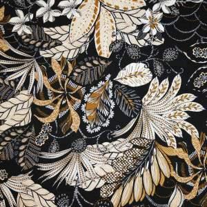 Cotone imprimè stretch – foglie floreali fondo nero