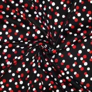 Cotone imprimè stretch – pallini rosso bianco fondo nero