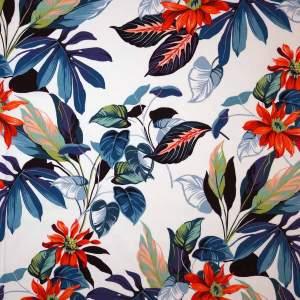 Cotone imprimè stretch – floreale rosso fondo bianco