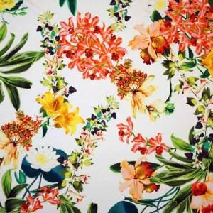 Jersey di viscosa – fiori rosso giallo