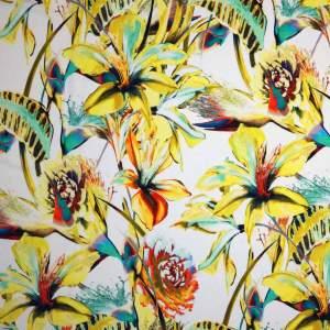 Jersey di viscosa – fiori toni giallo