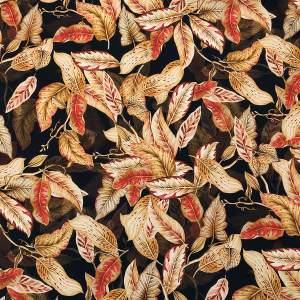 Envers satin di seta stretch –  foglie toni bruciato e rosso
