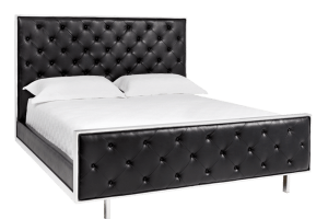 TALLAHASSEE BED – KING – BLACK LEATHER