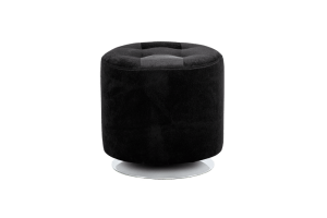 DOMANI SWIVEL OTTOMAN – SMALL – BLACK FAUX FUR