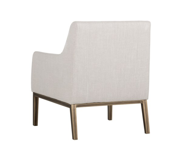 WOLFE LOUNGE CHAIR – RUSTIC BRONZE – BEIGE LINEN FABRIC