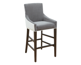 VINCENT BARSTOOL – IVORY LEATHER / PORTSMOUTH GREY FABRIC
