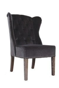 Babar Chair – Royal Grey Velvet & Oak Legs