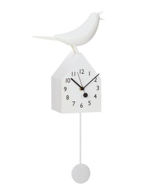 Motion Birdhouse Clock with Removable Pendulum – White
