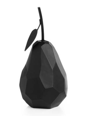 Carved Angle Pear Decor – Black