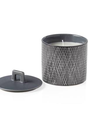 Bergen Weave Matte Grey Wax Filled Candle Holder – Small
