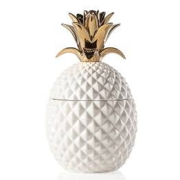 Pineapple Gold Crown White Ceramic Canister – Tall