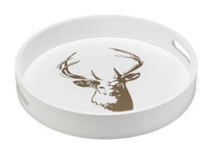 Stag Gold Motif 16″ Round Tray