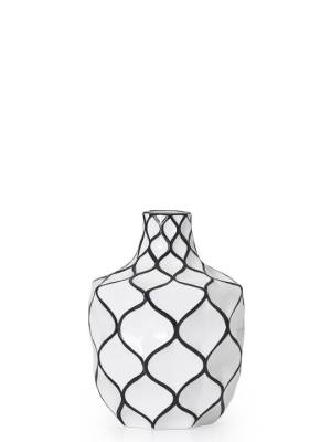 Abstract 9″h Lattice Outline Ceramic Vase