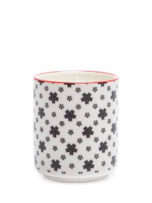 Kiri Wax Filled Porcelain Votive Candle Cup – White with Black Daisies