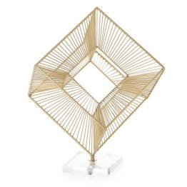 3D Radiant Cube 16″h Decor Sculpture – Gold