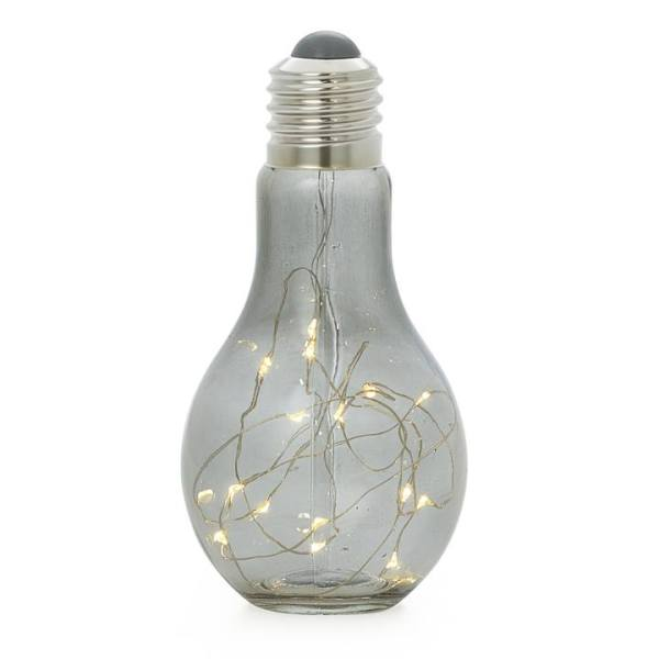 Glow Lightbulb Glass LED Decor Lamp – Smoke