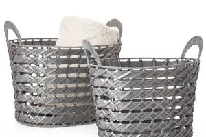 Fontana Woven Oval Nested Storage Baskets Set of Two – Grey