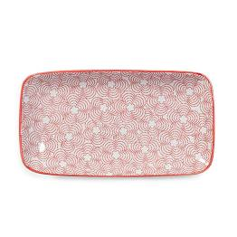 Kiri Porcelain 8.5″ Rectangle Tapas Plate – Red with Red Trim