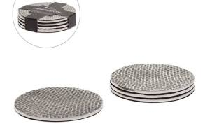 Impression Hammered Aluminum Coasters Set of Four – Silver