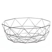 Diamond Weave 12.5″ Diameter Wide Fruit Bowl – Chrome