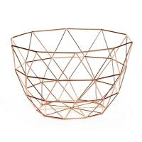 Diamond Weave 11″ Diameter Tall Fruit Bowl – Copper