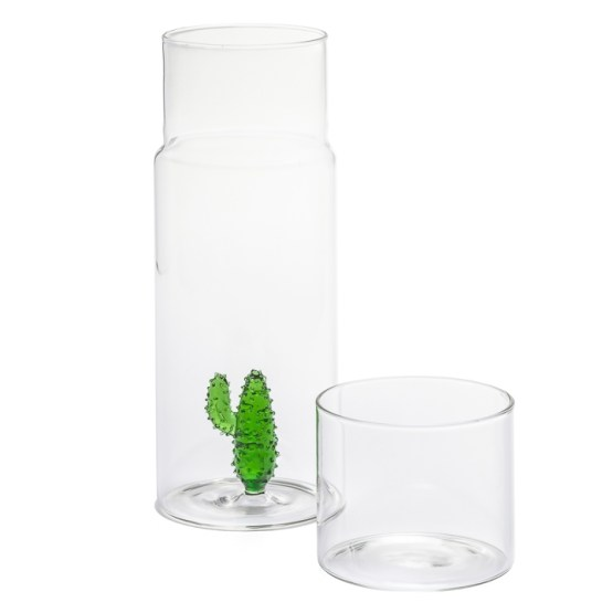 Cactus Glass Water Carafe Set