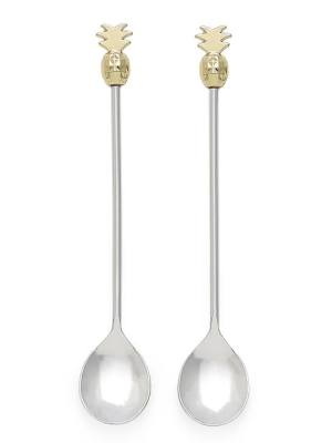 Pineapple Gold Cocktail Spoons Set of Two