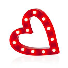 Marquee LED Lighted Metal Heart – Red