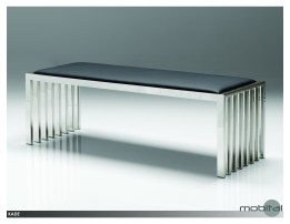 Crosstown Small Bench Black Leatherette with Matte Black Powder Coated Steel