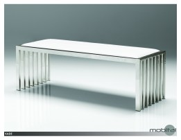 Kade Bench Black Leatherette with Polished Stainless Steel