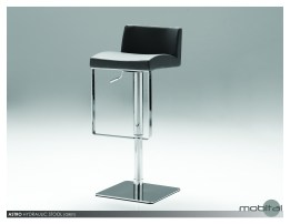 Astro Hydraulic Bar Stool Black Leatherette with Polished Stainless Steel