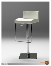 Astro Hydraulic Bar Stool Grey Leatherette with Polished Stainless Steel