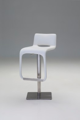 Azure Hydraulic Bar Stool Light Grey Leatherette with Brushed Stainless Steel
