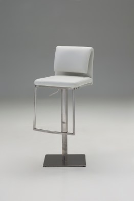 Neo Hydraulic Bar Stool Grey Leatherette with Brushed Stainless Steel
