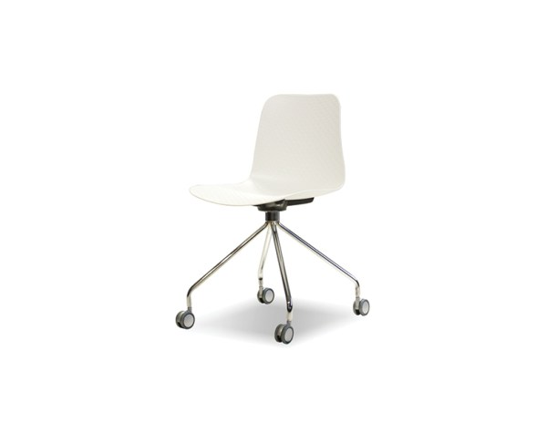 Trask Dining Chair White Polypropylene with Chome Legs and Castors Set of 2
