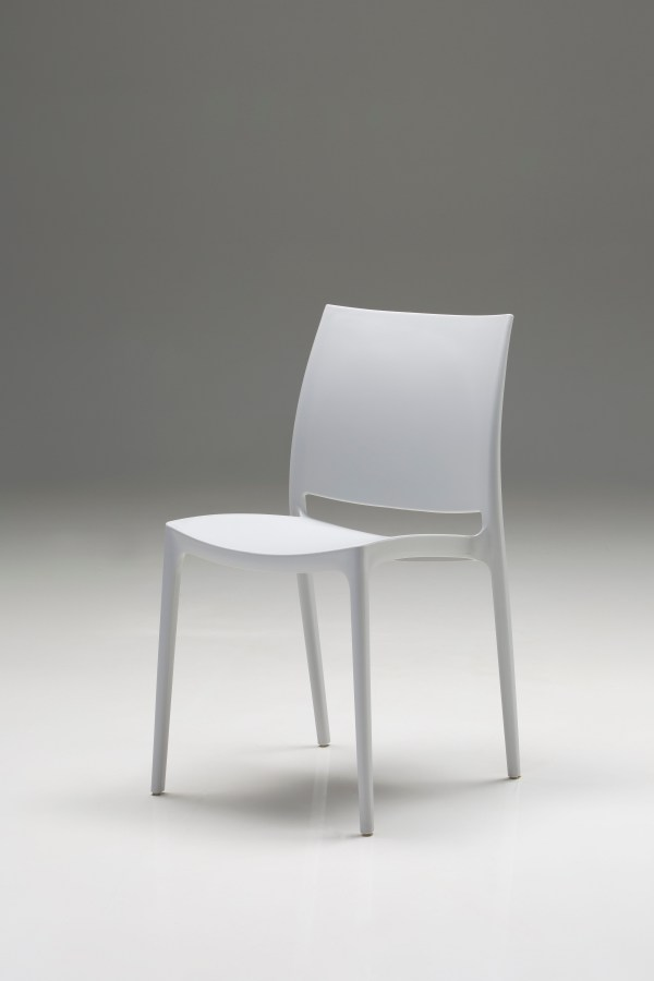 Tarna Dining Chair White Leatherette with Polished Stainless Steel Set of 2