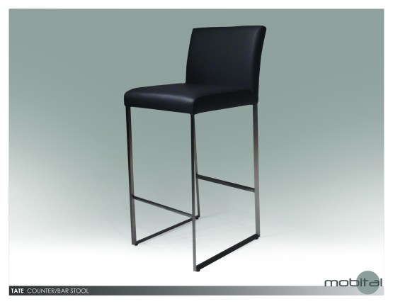 Tate Counter Stool Black Leatherette with Brushed Stainless Steel