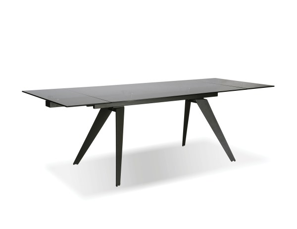 Noire Extending Dining Table Smoked Grey Glass with Iron Colored Steel Base