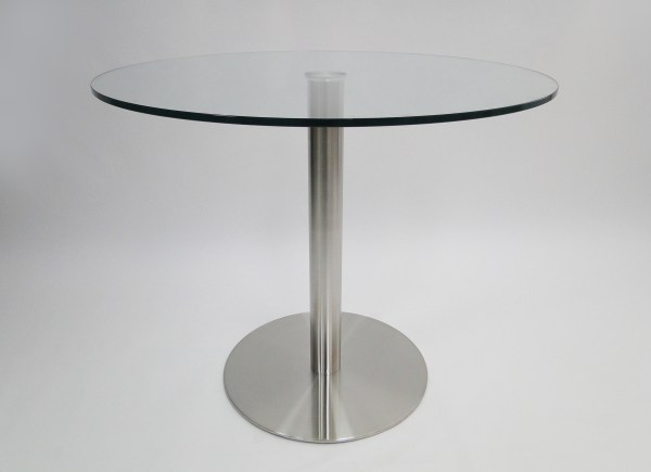 Radius 36″ Round Dining Table Clear Glass with Brushed Stainless Steel