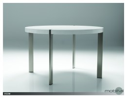 Voom 47″ Round Dining Table High Gloss White with Brushed Stainless Steel