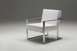 Motivo Arm Chair Grey Leatherette with Polished Stainless Steel