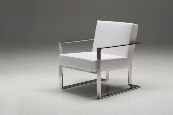 Motivo Arm Chair White Leatherette with Polished Stainless Steel