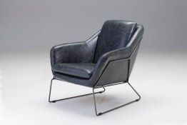 Ingrid Lounge Chair Grey Fabric with Walnut Wood