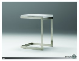 Faze Foldable End Table High Gloss White with Brushed Stainless Steel