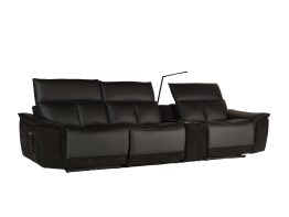 Modulate 4 Piece Recliner Midnight Black Leather with Black Fabric