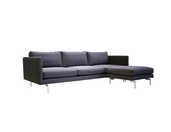 Taut Sectional Dark Grey Tweed Fabric with Brushed Stainless Steel Legs