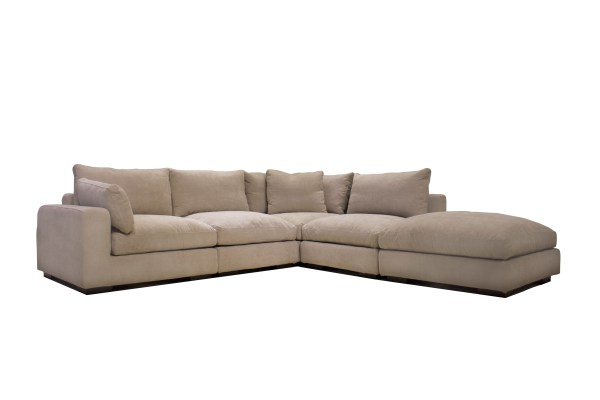 Uptown LSF Sectional Light Grey Premium Leather with Side Split